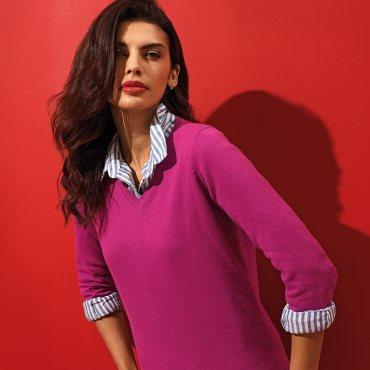 Women's Cotton Blend V-neck Sweater